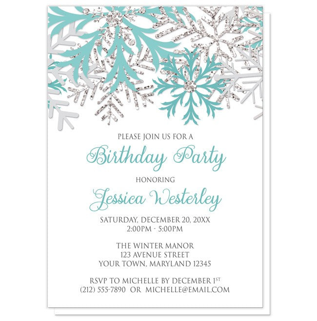 Birthday Party Invitations - Winter Teal Silver Snowflake