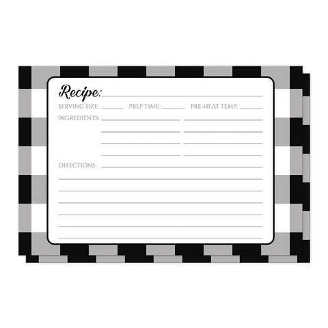 Black and White Buffalo Plaid Recipe Cards at Artistically Invited