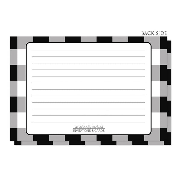 Black and White Buffalo Plaid Recipe Cards (back side) at Artistically Invited