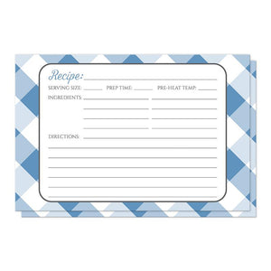 Blue Gingham Recipe Cards at Artistically Invited