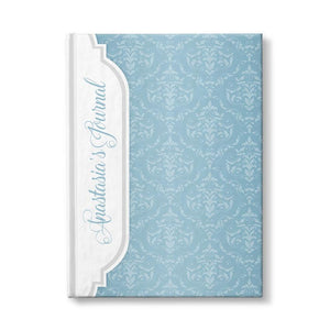Personalized Blue Damask Journal at Artistically Invited