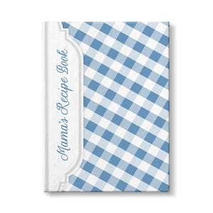 Personalized Blue Gingham Recipe Book at Artistically Invited