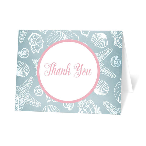 Blue Seashell Pink Beach Thank You Cards at Artistically Invited