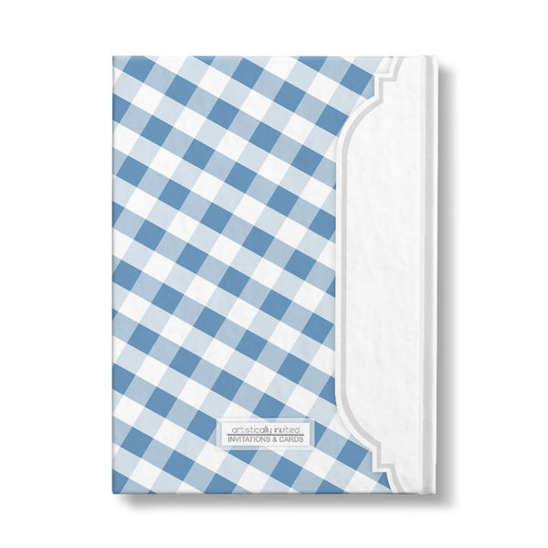 "Blue and White Gingham Pattern Personalized 5"" x 7"" Journal - back"