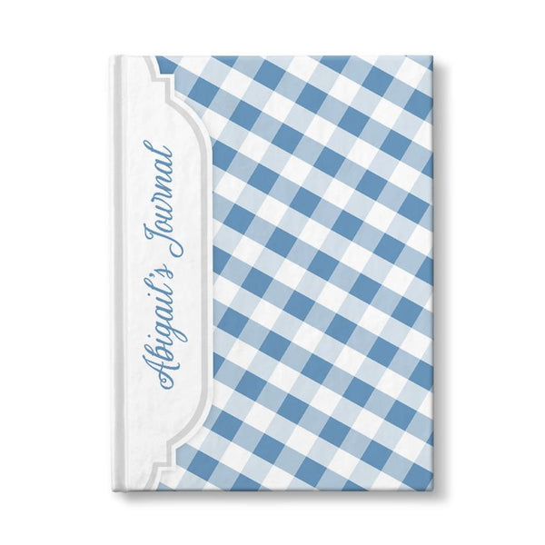 Personalized Blue Gingham Journal at Artistically Invited