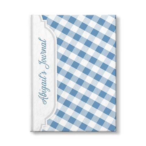"Blue and White Gingham Pattern Personalized 5"" x 7"" Journal"