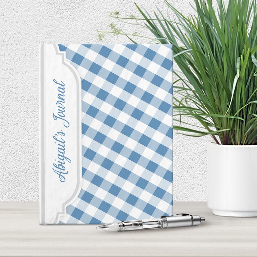 Blue and White Gingham Pattern Personalized 5 x 7 Journal at Artistically Invited