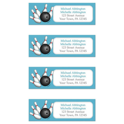 Blue Bowling Return Address Labels at Artistically Invited