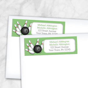 Green Bowling Return Address Labels at Artistically Invited