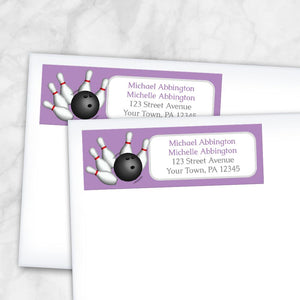 Purple Bowling Return Address Labels at Artistically Invited