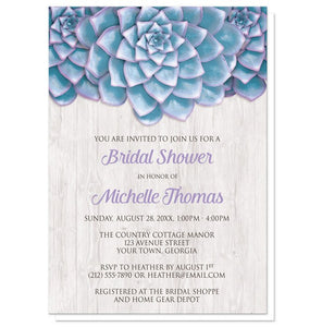 Blue Purple Succulent Whitewashed Wood Bridal Shower Invitations