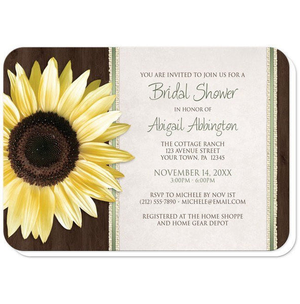 Country Sunflower Bridal Shower Invitations (rounded corners) -  Country Sunflower Wood Brown Green - Sunflower Bridal Shower Invitations at Artistically Invited