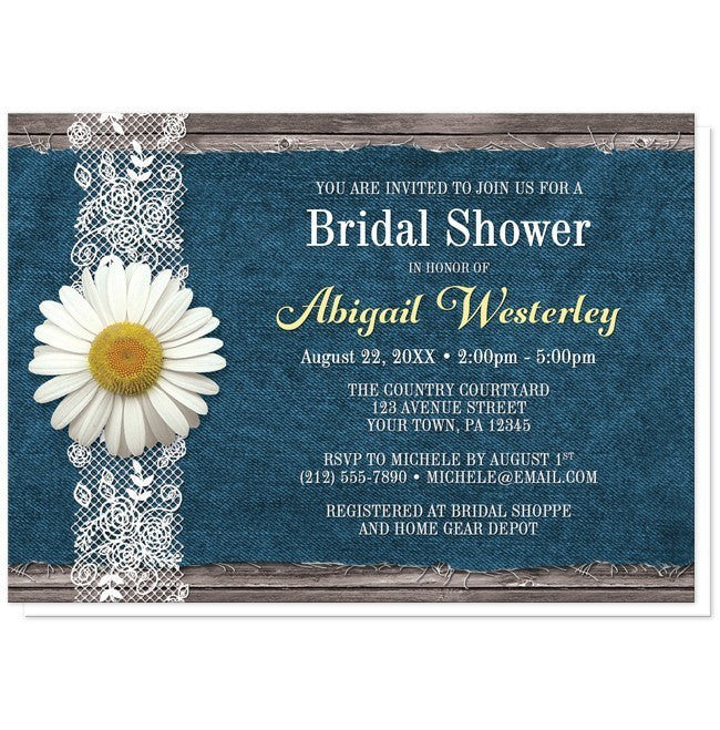 Daisy Denim And Lace Rustic Bridal Shower Invitations