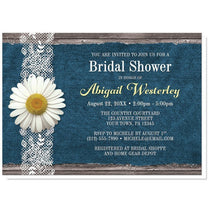 Bridal Shower Invitations - Daisy Denim and Lace Rustic