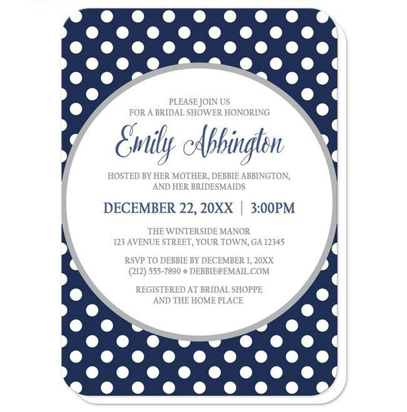 Bridal Shower Invitations - Gray Navy Blue Polka Dot - rounded corners