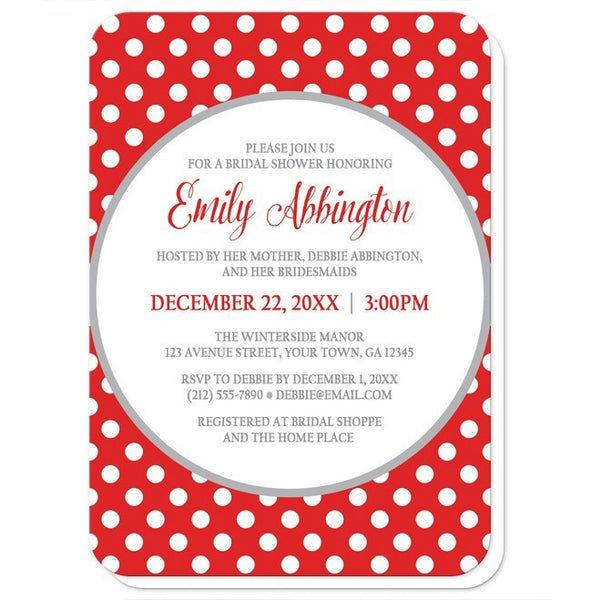 Gray and Red Polka Dot Bridal Shower Invitations - Artistically Invited