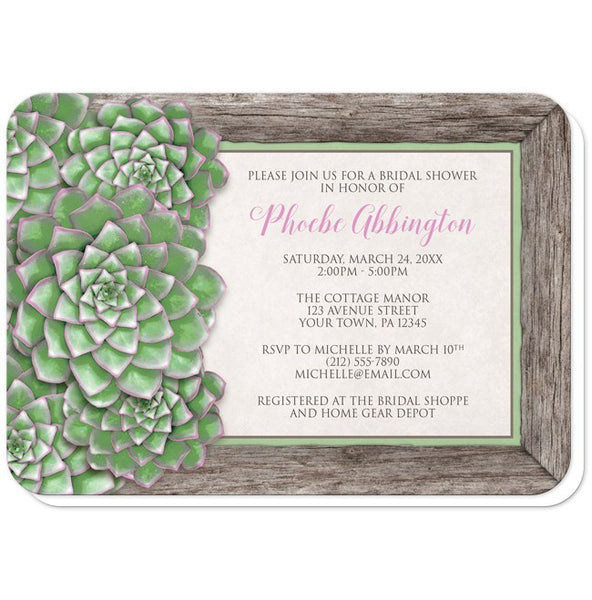 Green and Pink Succulent Wood Bridal Shower Invitations - rounded corners