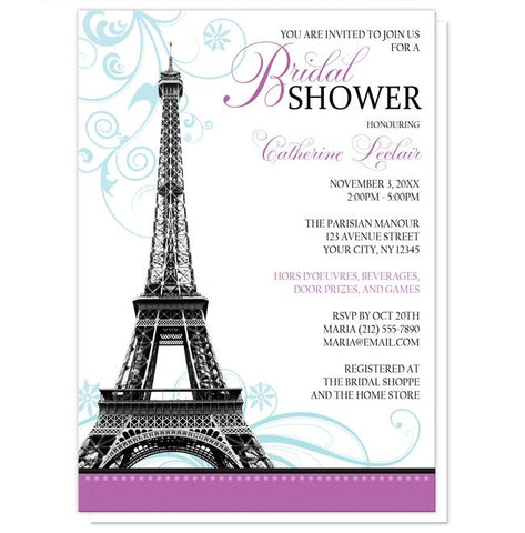 Modern Eiffel Tower Purple Parisian Bridal Shower Invitations
