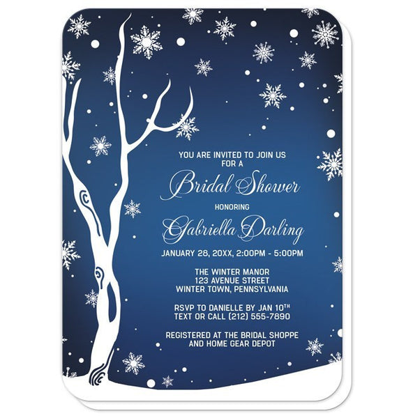 Navy Night Sky Snowflake Winter Bridal Shower Invitations - Artistically Invited