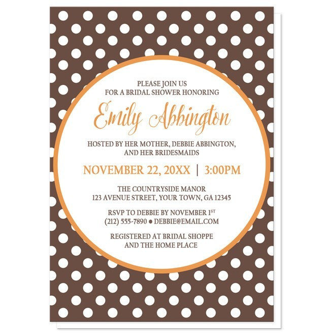 Orange Brown Polka Dot Bridal Shower Invitations - Artistically Invited