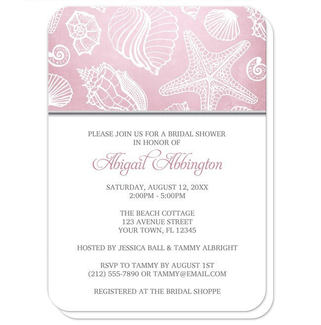 Pink Beach Seashell Pattern Bridal Shower Invitations at  Artistically Invited