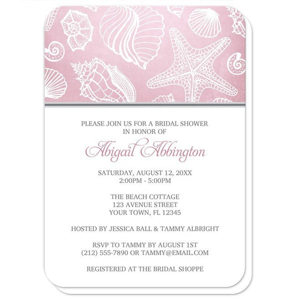 Bridal Shower Invitations - Pink Beach Seashell Pattern - rounded corners