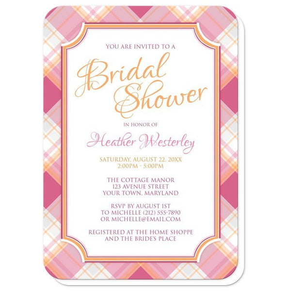 Bridal Shower Invitations - Pink & Orange Plaid - rounded corners