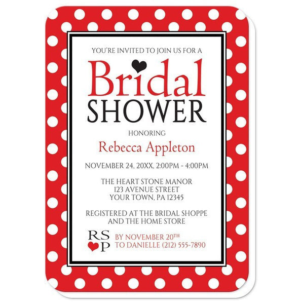 Bridal Shower Invitations - Polka Dot Red Black and White - rounded corners