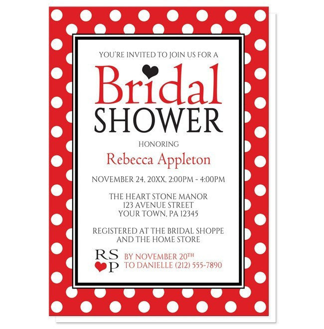 Bridal Shower Invitations - Polka Dot Red Black and White