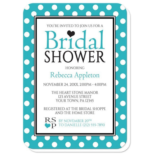 Bridal Shower Invitations - Polka Dot Turquoise Black and White - rounded corners