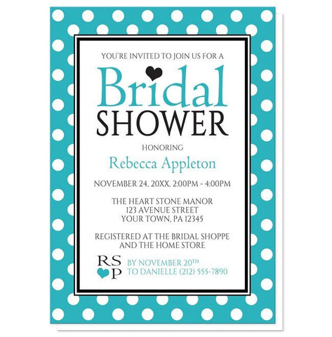 Bridal Shower Invitations - Polka Dot Turquoise Black and White