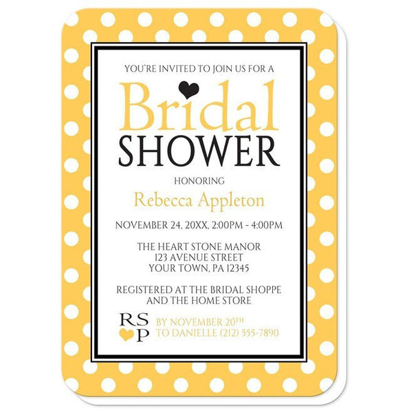 Bridal Shower Invitations - Polka Dot Yellow Black and White - rounded corners