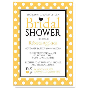Bridal Shower Invitations - Polka Dot Yellow Black and White