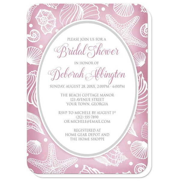 Pretty Pink Beach Seashell Bridal Shower Invitations - Artistically Invited