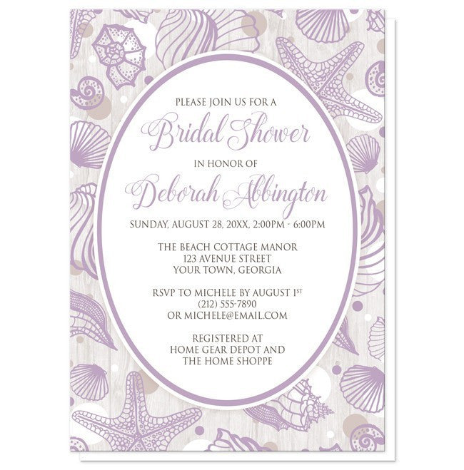 Purple Seashell Whitewashed Wood Beach Bridal Shower Invitations - Artistically Invited