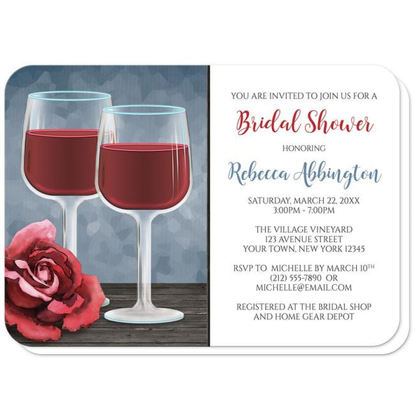 Red Wine Glasses Rose Bridal Shower Invitations - rounded corners