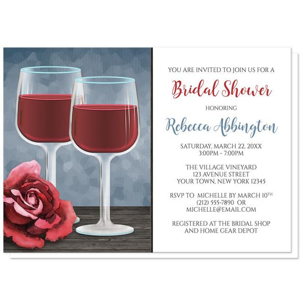 Red Wine Glasses Rose Bridal Shower Invitations