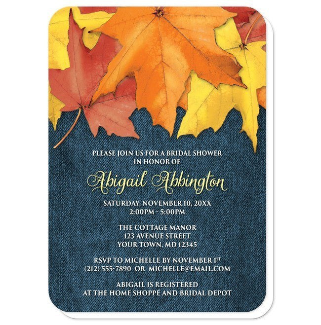 Rustic Autumn Leaves Denim Bridal Shower Invitations at  Artistically Invited
