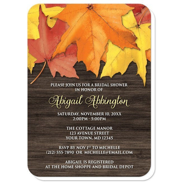 Rustic Autumn Leaves Wood Bridal Shower Invitations - Artistically Invited