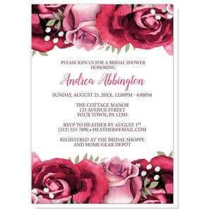 Bridal Shower Invitations - Rustic Burgundy Pink Rose White