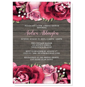 Bridal Shower Invitations - Rustic Burgundy Pink Rose Wood