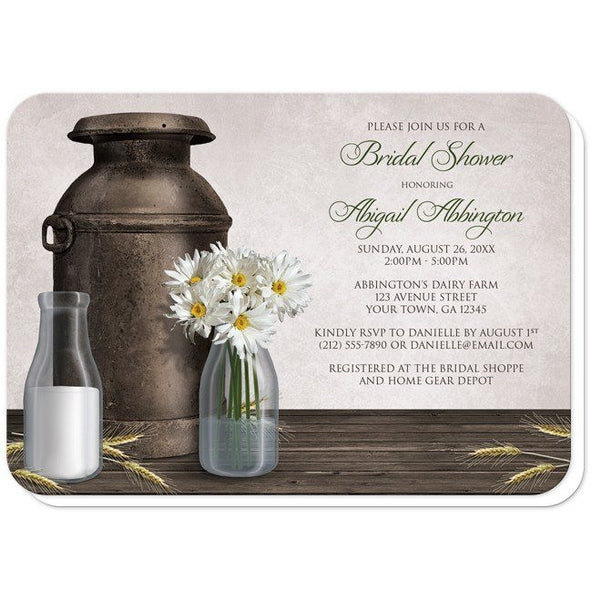 Bridal Shower Invitations - Rustic Country Dairy Farm - rounded corners