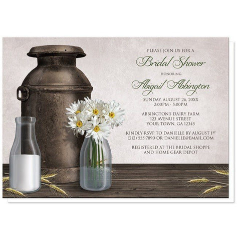 Bridal Shower Invitations - Rustic Country Dairy Farm