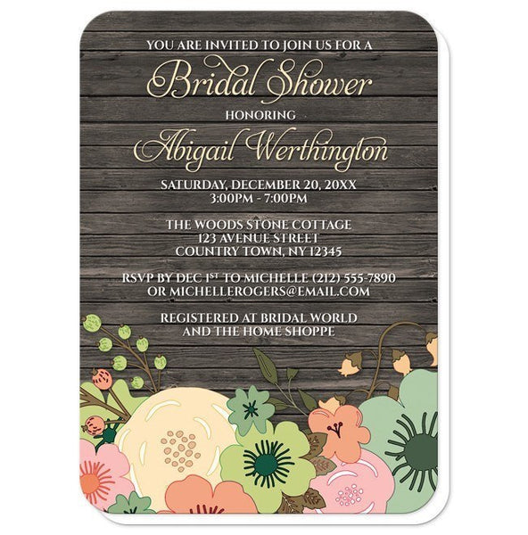 Bridal Shower Invitations - Rustic Orange Teal Floral Wood - rounded corners
