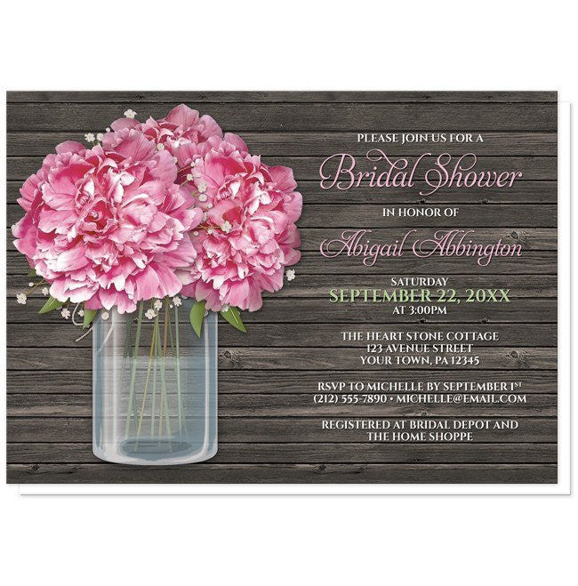 Rustic Peony Wood Mason Jar Bridal Shower Invitations - Artistically Invited
