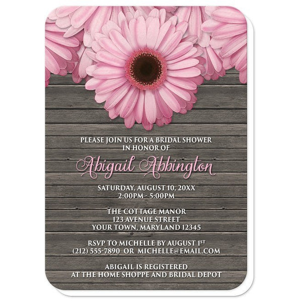 Bridal Shower Invitations - Rustic Pink Daisy Brown Wood - rounded corners