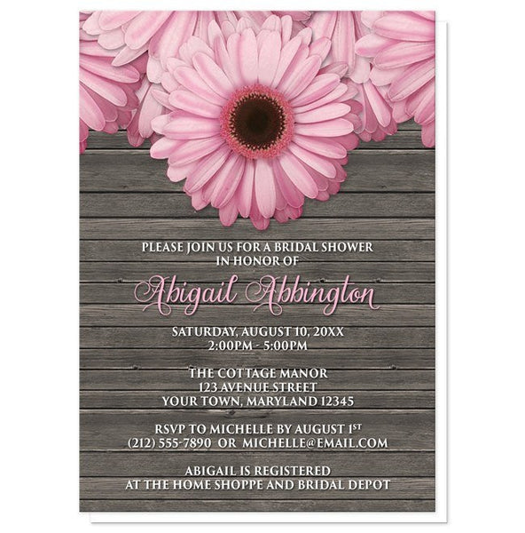 Bridal Shower Invitations - Rustic Pink Daisy Brown Wood