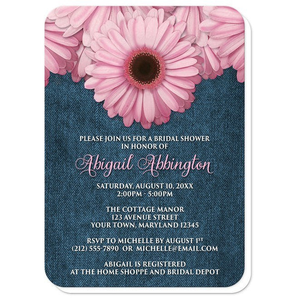 Bridal Shower Invitations - Rustic Pink Daisy Denim - rounded corners