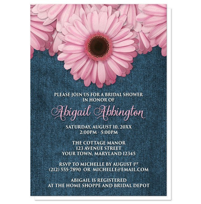 Bridal Shower Invitations - Rustic Pink Daisy Denim