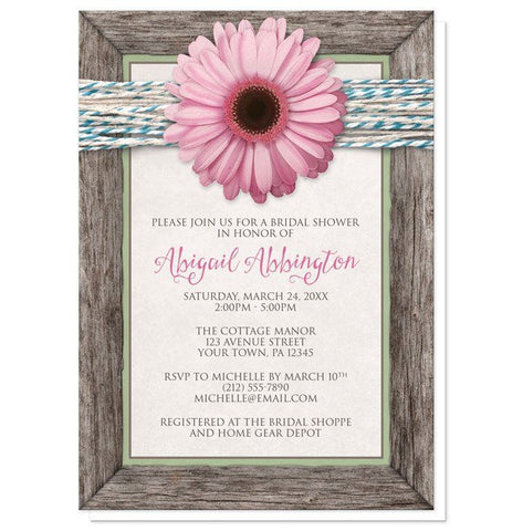 Bridal Shower Invitations - Rustic Chic Pink Daisy Turquoise Wood